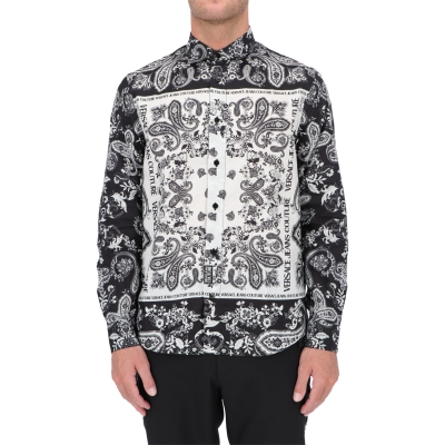 VERSACE JEANS COUTURE PAISLEY LOOP PRINT COTTON TWILL SHIRT
