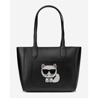 KARL LAGERFELD K/IKONIK LEATHER TOTE BAG WITH STRASS