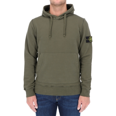 STONE ISLAND HOODED SWEATSHIRT IN BRUSHED COTTON FLEECE