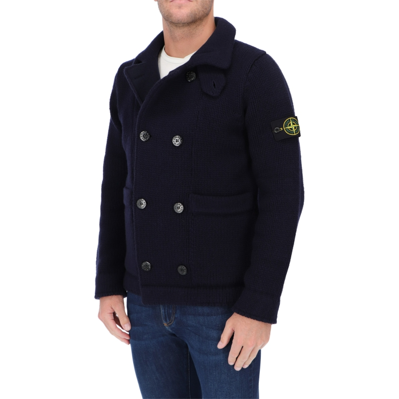 STONE ISLAND DOUBLE-BREASTED LAMSWOOL CARDIGAN