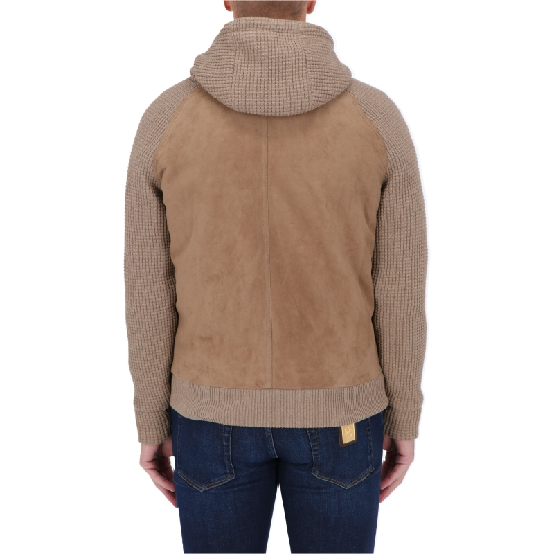 LARDINI SUEDE AND WOLL HOODED JACKET