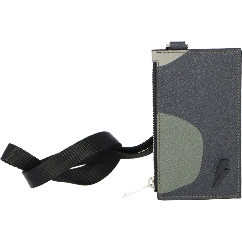 NEIL BARRETT LEATHER CAMO PRINTED NECK CARD HOLDER