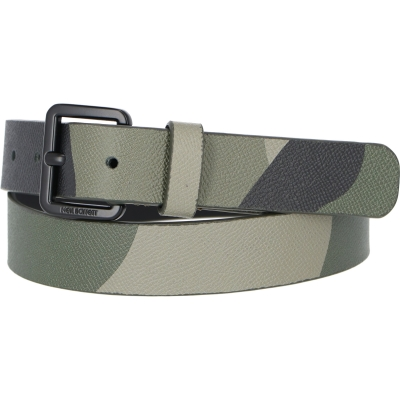 NEIL BARRETT SQUARE BUCKLE HAMMERED LEATHER CAMO PRINT BELT