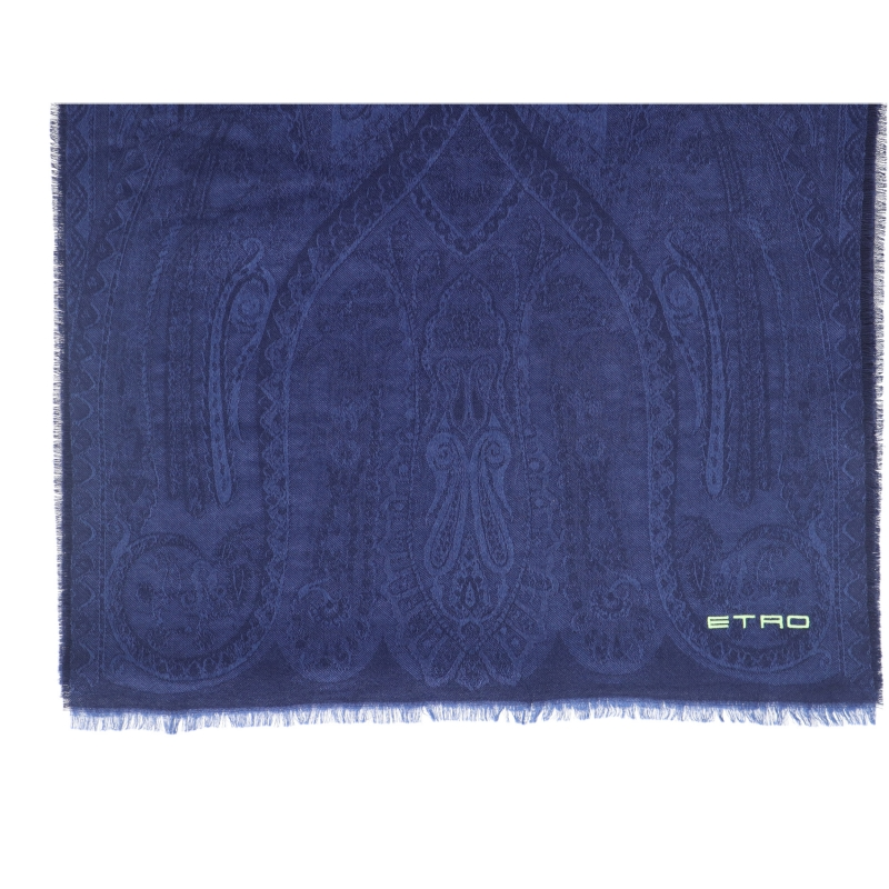 ETRO WOOL AND SILK JACQUARD SCARF WITH EMBROIDED LOGO