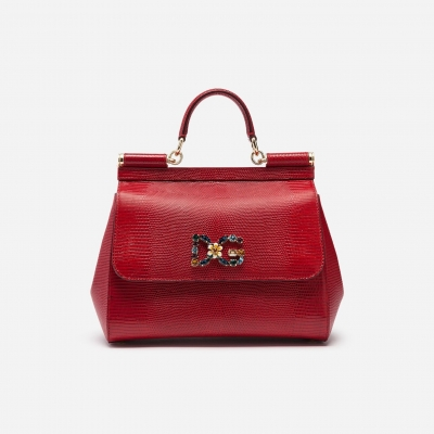 DOLCE & GABBANA MEDIUM SICILY BAG IN IGUANA PRINT CALFSKIN WITH DG LOGO CRYSTALS