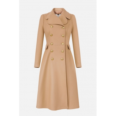 ELISABETTA FRANCHI WOOL AND CASHMERE DOUBLE BREAST COAT