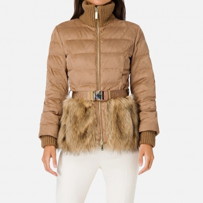 ELISABETTA FRANCHI PADDED JACKET WITH FAUX FUR