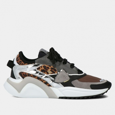 PHILIPPE MODEL EZE LEATHER AND FABRIC SNEAKERS