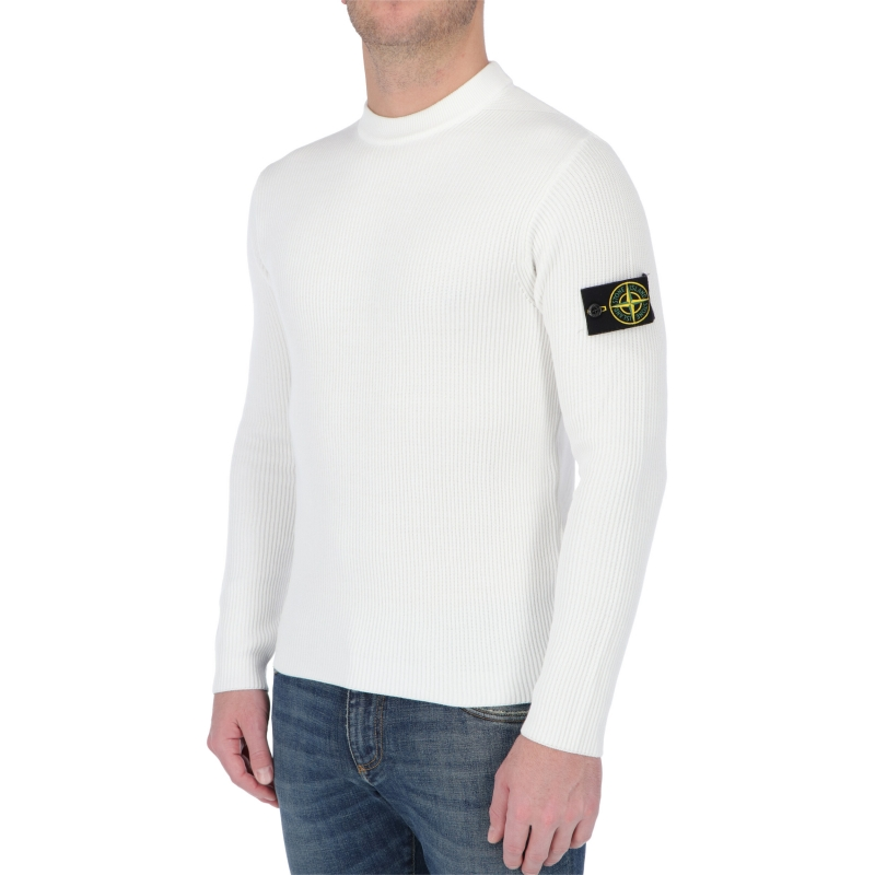 STONE ISLAND CREWNECK KNIT IN RIBBED COTTON