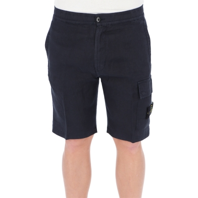 "STONE ISLAND ""FISSATO"" TREATMENT BERUDA SHORTS IN LINEN CAVANS"