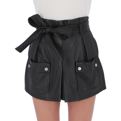 BLACK LAMBSKIN LEATHER SHORTS
