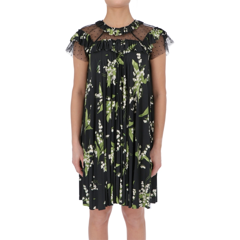 POINT D'ESPRIT FABRIC DRESS WITH MAY LILY PRINT