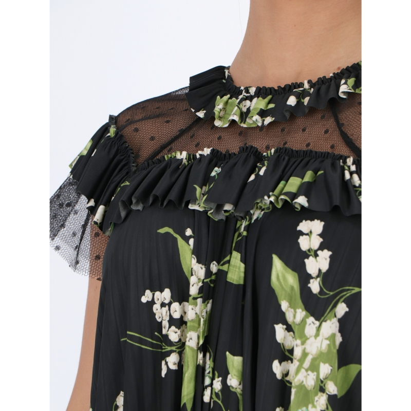 ABITO PLISSETTATO CON TULLE POINT D'ESPRIT STAMPA MAY LILY