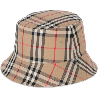 BURBERRY VINTAGE CHECK COTTON BLEND BUCKLE HAT