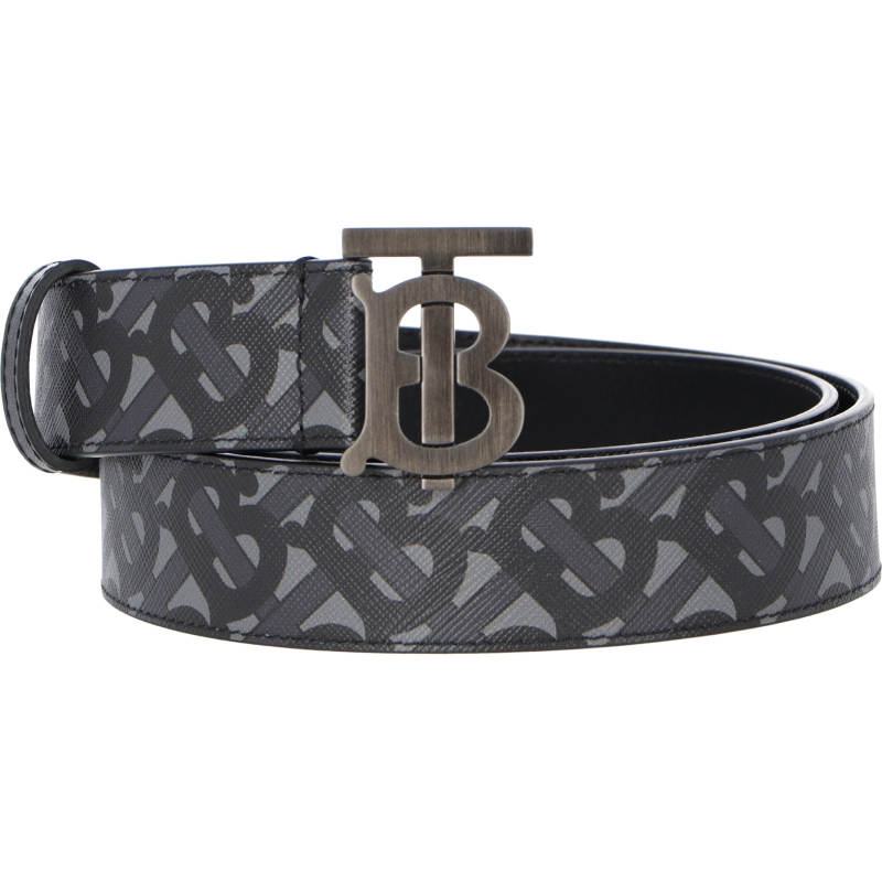 BURBERRY MONOGRAM E-CANVAS AND LEATHER BELT