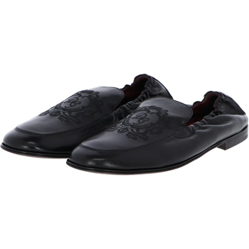 DOLCE & GABBANA CALFSKIN LOAFERS WITH DG COAT OF ARMS EMBROIDERY