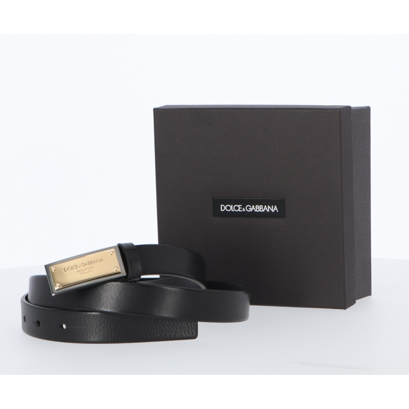 DOLCE & GABBANA TUMBLED CALFSKIN BELT WITH BRANDED BUCKLE WITH TWO PLATED FINISHES