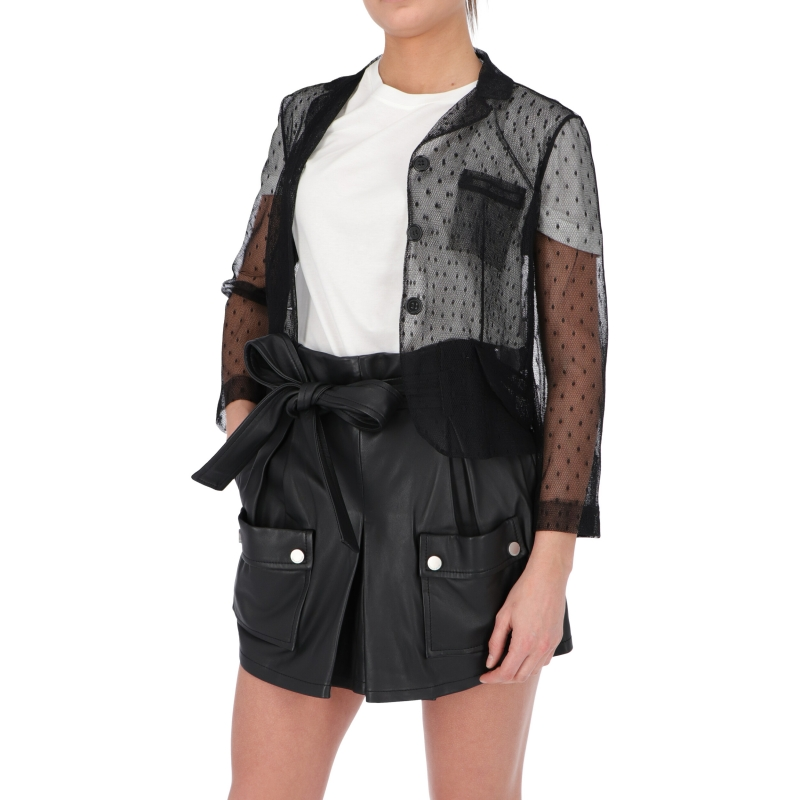 GIACCA IN TULLE POINT D'ESPRIT NERO