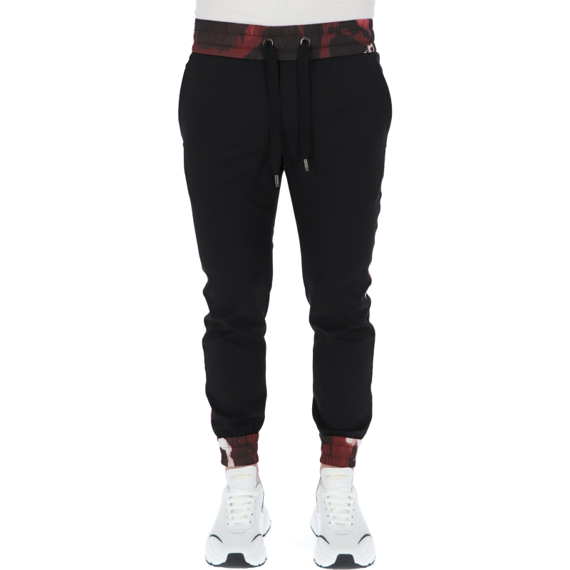 DOLCE & GABBANA WOOL JOGGING PANTS WITH CAMOUFLAGE-PRINT DETAILS