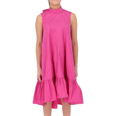 FUXIA TAFFETA' MIDI' DRESS
