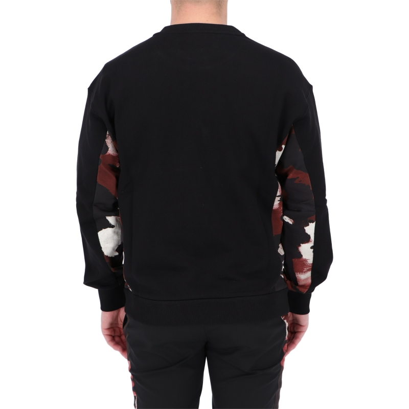 DOLCE & GABBANA COTTON CREWNECK WITH EMBROIDERY AND CAMOUFLAGE DETAILS