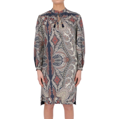 PROCIDA WOOL PLACED PAISLEY PRINT DRESS