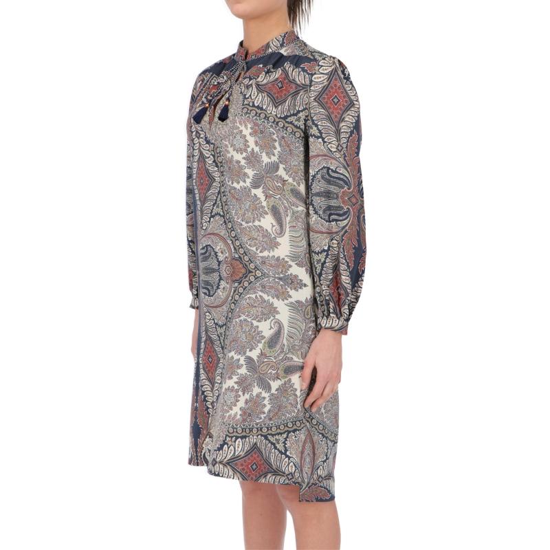 PROCIDA WOOL PLACED PAISLEY PRINT DRESS