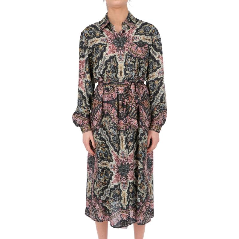 ANTIPAROS DRESS MADE OF PLACED PRINT PAISLEY VISCOSE FABRIC