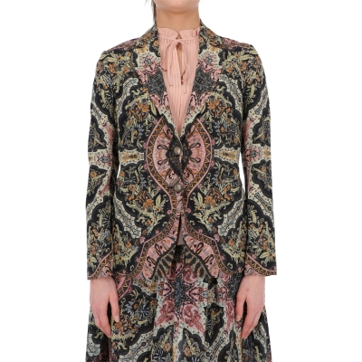 SILK ELBA BLAZER JACKET FEATURES PLACED PAISLEY PRINT