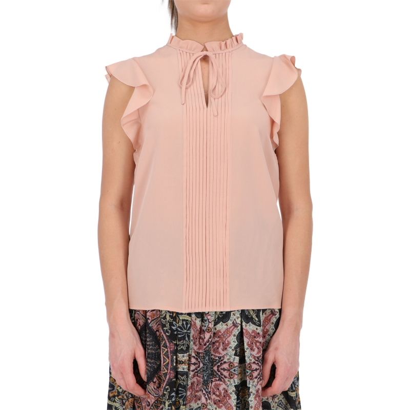 SILK CORFU' TOP WITH ROUCHES