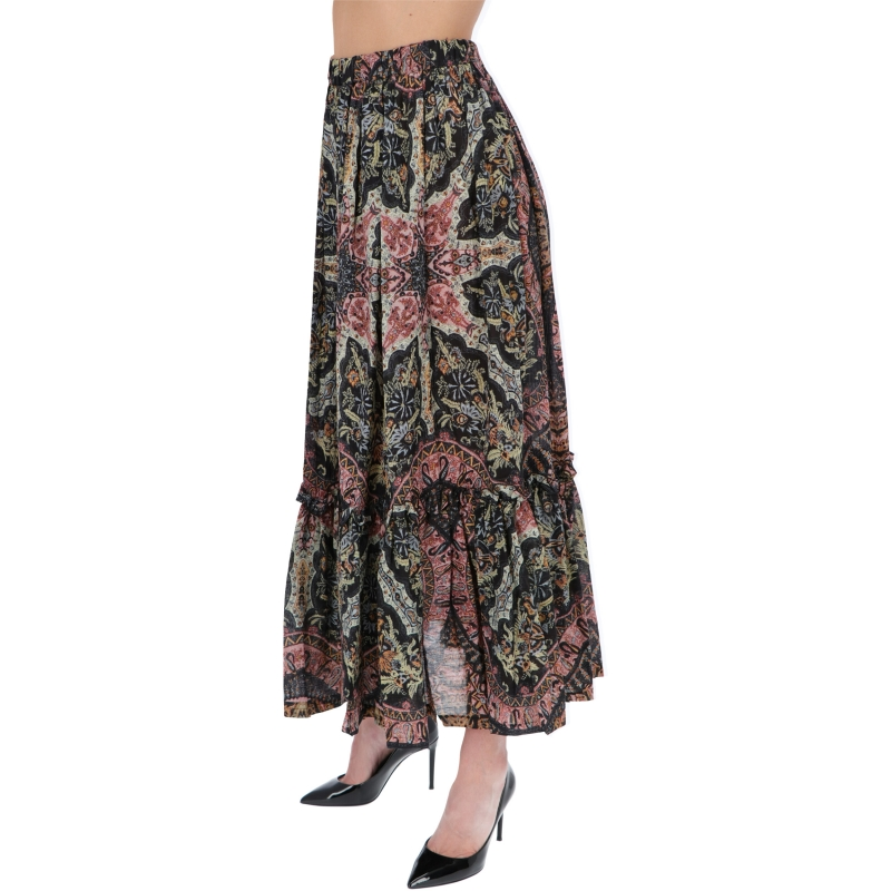 VULCANO COTTON SKIRT WITH PLACED PAISLEY PRINT