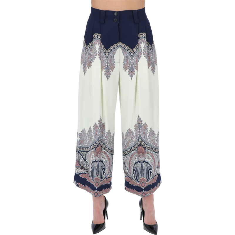 CORSICA VISCOSE TROUSERS WITH PLACED PRINT