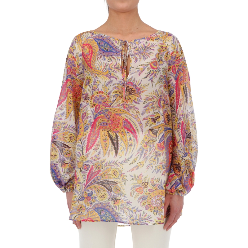 MYKONOS COTTON SHIRT WITH PLACED PRINT
