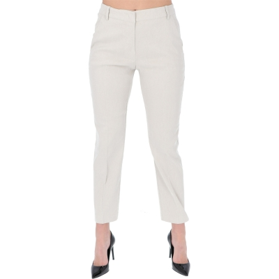 """BELLO 106"" LINEN BLEND CANVAS TROUSERS"