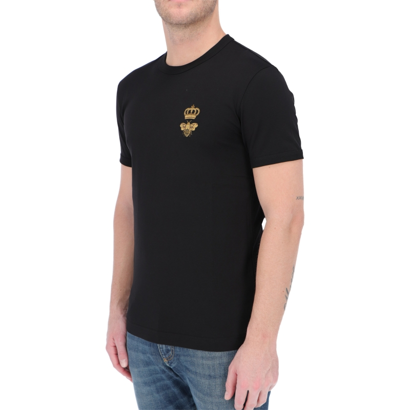DOLCE & GABBANA COTTON T-SHIRT WITH FRENCH WIRE PATCH