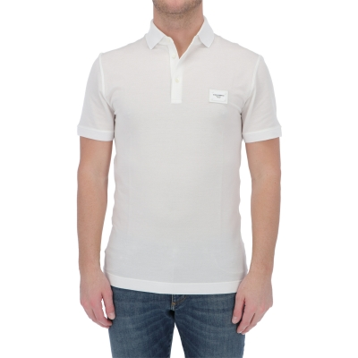 DOLCE & GABBANA COTTON PIQUÉ POLO SHIRT WITH BRANDED PLATE