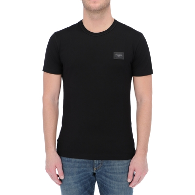 DOLCE & GABBANA COTTON T-SHIRT WITH LOGOED PLAQUE