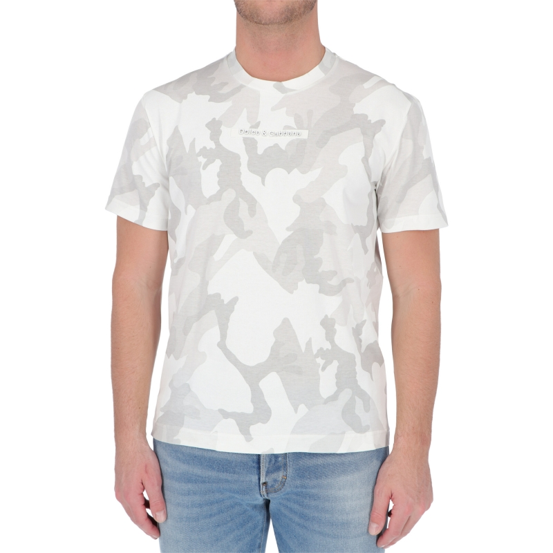 T-SHIRT IN COTONE CON PATCH IN TESSUTO DOLCE & GABBANA