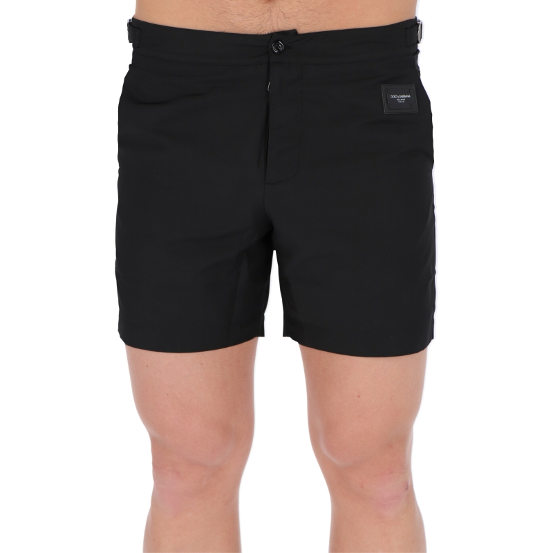 DOLCE & GABBANA MID-LENTH SWIM SHORTS WITH BRANDED PLATE