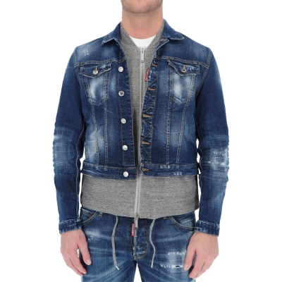 DSQUARED2 COMBINED JERSEY VEST DENIM JACKET