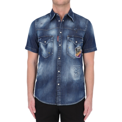 DSQUARED2 CANADIAN ICON DENIM SHORT SLEEVE SHIRT