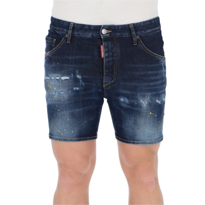 DSQUARED2 DARK 1 WASH DAN COMMANDO DENIM SHORTS