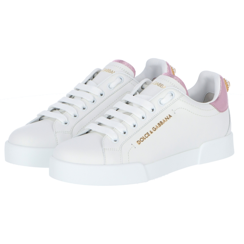 PORTOFINO LEATHER SNEAKER WITH METALLIC PINK DAUPINE LEATHER INSERTS AND DECORATIVE PEARL
