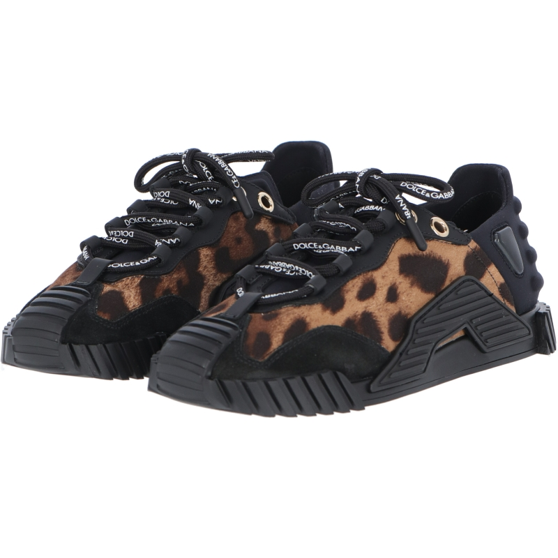 NS1 SNEAKERS IN LEOPARD PRINT FABRIC WITH BLACK LEATHER INSERTS