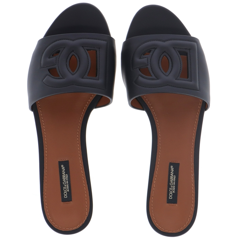 BIANCA LEATHER SANDAL WITH DG LOGO CUTTED OUT ON THE FRONT