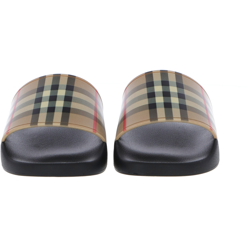 FURLEY RUBBER SLIDES WITH CHECK PRINT
