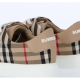 ALBRIDGE SNEAKER MADE OF CHECK PRINTED COTTON FABRIC WITH LEATHER INSERTS