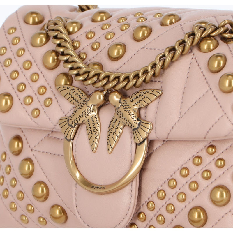 WOVEN STUDS QUILTED NAPPA BAG