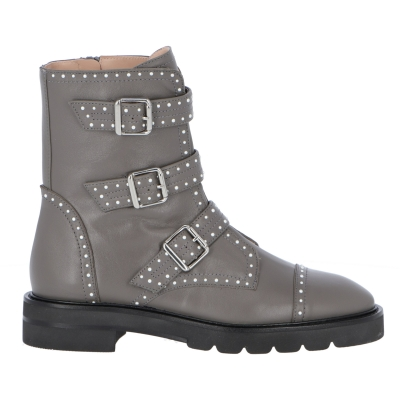 STUDDED JESSE LEATHER ANKLE BOOTS
