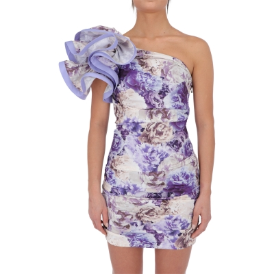 FLOWER PRINTED DRESS WITH DECORATION